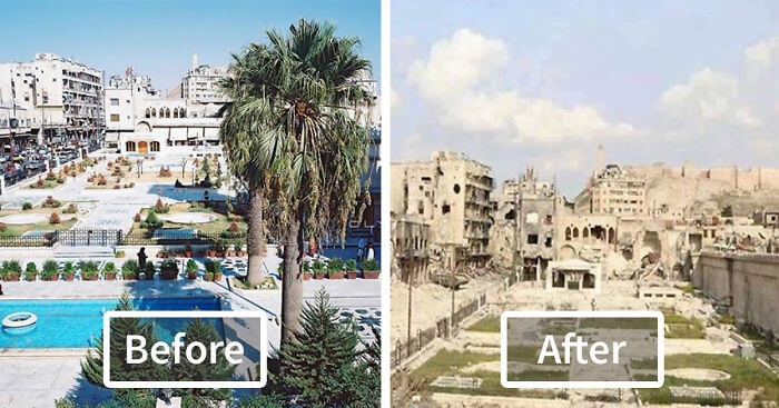 before after war photos aleppo syria fb